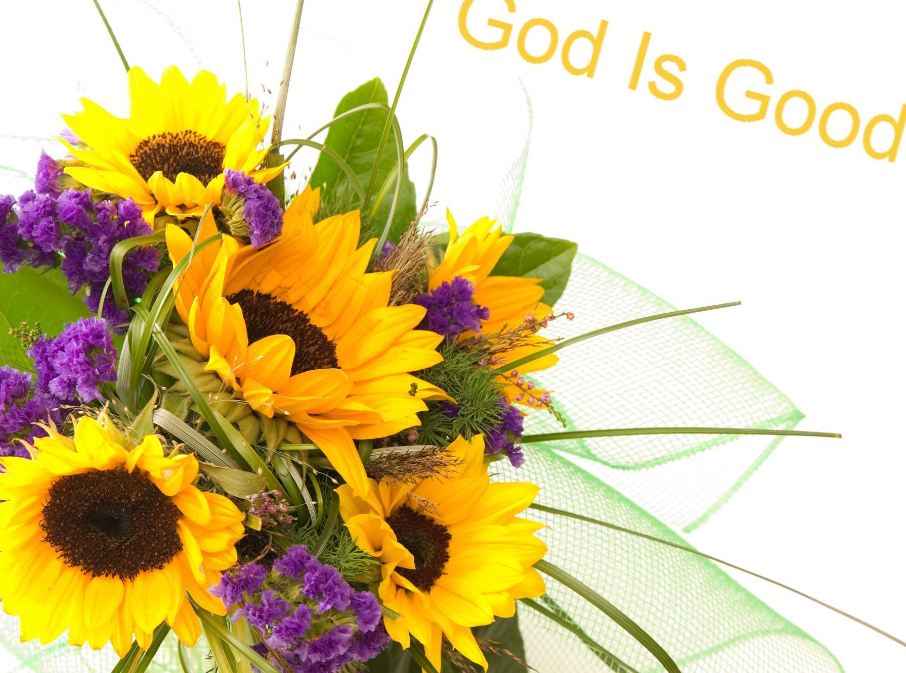 God is good inscription on a flower