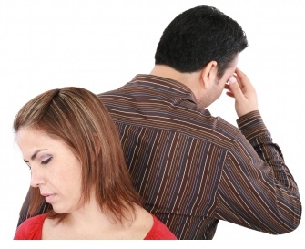 man and woman in divorce situation